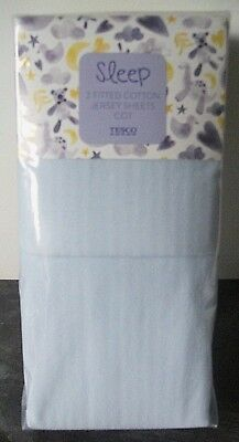 Ex store 2 pair packet of blue 100% jersey cotton fitted cot sheets Brand New