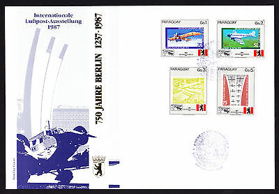 Paraguay 1987 First Day Cover 750 Jahre Berlin German Aviation Luftpost stamps