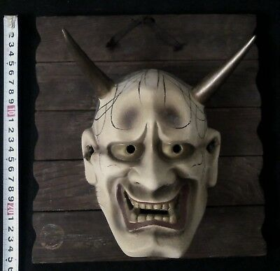 Japanese mask of HANNYA  Noh  Kabuki Bugaku Clay Panel set