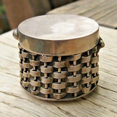 Vintage Taxco Mexico Sterling Silver BASKET WEAVE Round Pill BOX!Look!