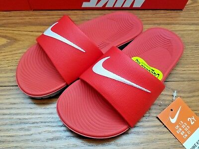 New Girls/boys Kids Nike Kawa red/white cushioned slide sandals