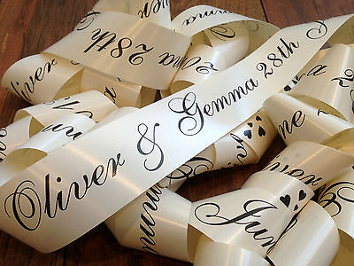 PERSONALISED WEDDING CAR RIBBON - 6m Printed Car Ribbon | Birthday Prom Wedding