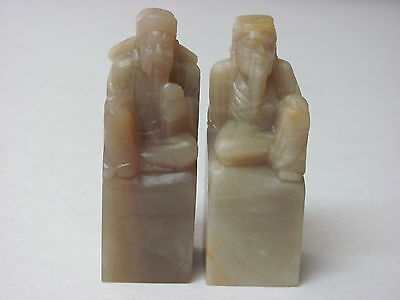 Fine Old Pair Chinese Shoushan soapstone Carved Ancient Man seal