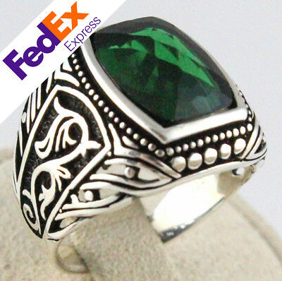 925 Sterling Silver Turkish Handmade Emerald Faceted Ottoman Men's Luxury Ring