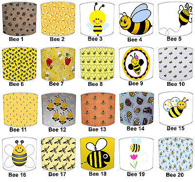 Children`s Bees Lampshades, Ideal To Match Children`s Bumble Bee Duvet Covers.