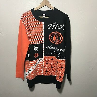 NEW RARE Tito's Handmade Vodka Ugly Christmas Sweater Mens Womens Collectible L