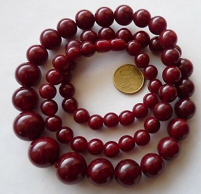 Antique Amber Red Cherry Bakelite Beads Necklace Bijou Sautoir Ancien Art Deco