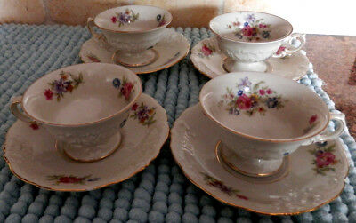 Lot of 4 KPM Poland Floral Footed Teacup and Saucer