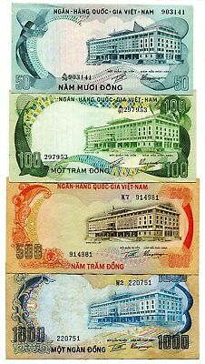 Vietnam South banknote 50 100 500 1000 dong ND 1972