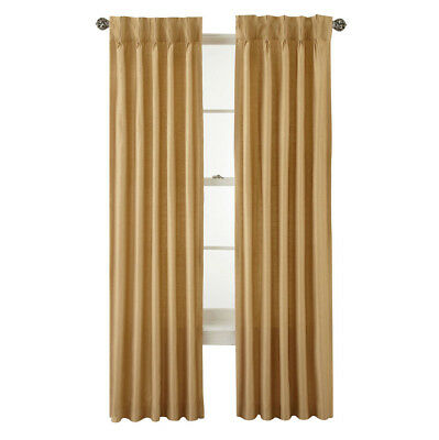 Royal Velvet Supreme Pinch Pleat Back Tab Lined Curtain Panel Soft Gold 75