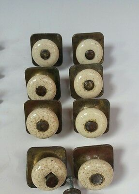 Vintage Porcelain Drawer Pulls Knobs set of 8