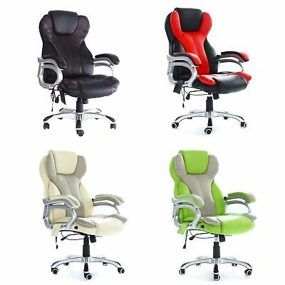 Luxury PU Leather 6 Point Heat Massage Office Reclining Computer Swivel Chair UK