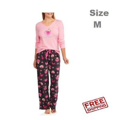 Women s Knit Sleep Top and Microfleece Sleep Pant 2 Piece Sleepwear Set  Size M 3fd202a49