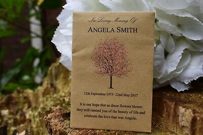 200 Funeral Favours Personalised Seed Packets - Sympathy/Memorial gift
