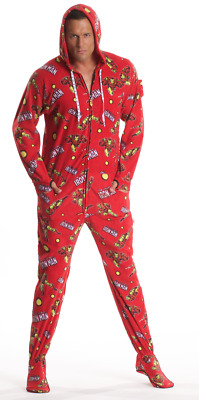 Unisex Iron Man Red Fleece Footed Pajama - Adult Sized Marvel Footie Hooded PJ