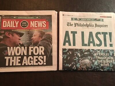 Philadelphia Inquirer + Daily News Eagles Super Bowl Champs WIN 2/5/18 Newspaper