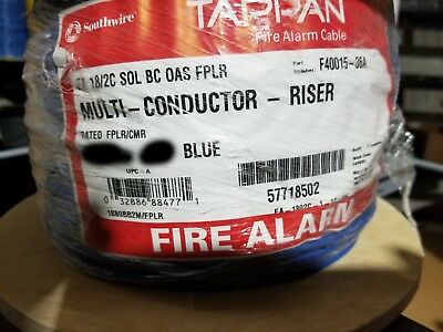 Southwire/Tappan F40015 18/2C Solid Shielded Fire Alarm Cable Riser Blue /100ft