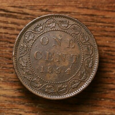 Raw 1894 Canada One Cent 1C Canadian Coin