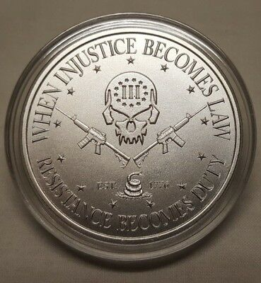 1 oz Silver Skull Punisher 2nd amendment Don't Tread on Me AR15 Guns Round Coin