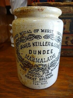 Antique James Keiller & Sons Dundee Marmalade Ceramic Pottery Jar Crock UK 1862