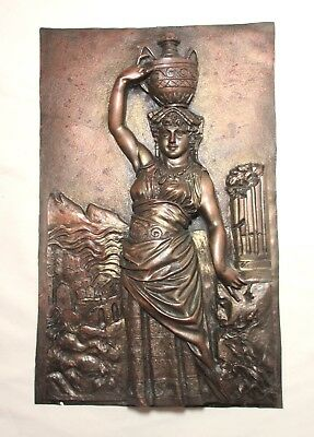 antique 1800's FORNI tooled gilt bronze figural relief lady wall plaque statue
