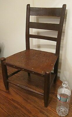antique 19th century miniature salesman sample carved wood brass rivet chair old