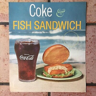 Vintage Coca-Cola Advertising Poster & Holder 'Coke & Fish Sandwich' 1960's?