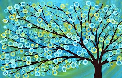 Folk  Tree flower art Framed Canvas abstract painting ready to hang print