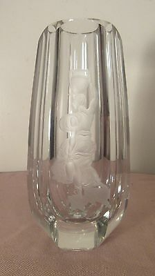 large antique hand engraved figural Baccarat French cut clear crystal glass vase