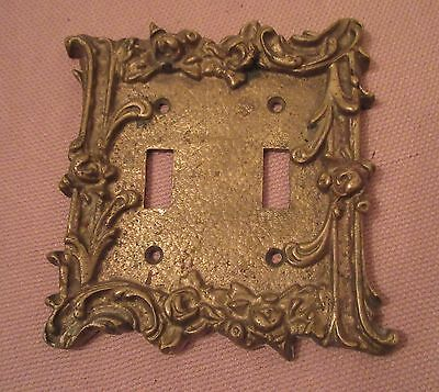 rare antique ornate thick brass dual light switch plate electric outlet cover