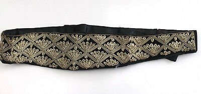 Vintage 1950s Womens Black Velvet Beaded Embroidered Cummerbund Belt Metallic