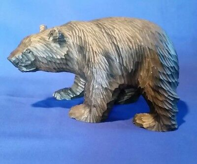 """Hand carved wooden grizzly bear statue 8"""" length"""