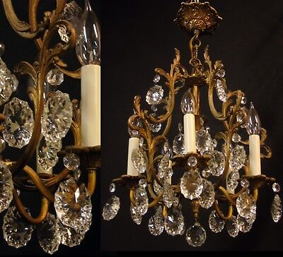 Vintage Spain Hollywood Regency Crystal Prisms Chandelier Light Fixture Lamp