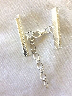 10 Sets Silver Plated 30mm End Clamps lobster clasp and chain Findings Cord Ends