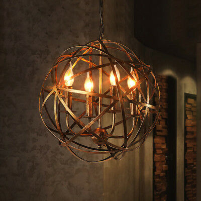Industrial Antique Brass Warehouse Orb Cage Candle-Style Suspended Chandelier