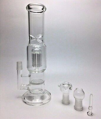 Hookah Water Pipe Bong Glass 11.8 inch clear heavy with 2 perk tree & honeycomb