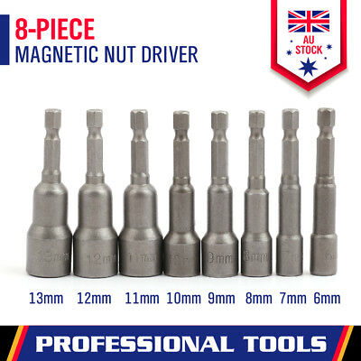 8-Piece Socket Magnetic Nut Driver Set Drill Bit Adapter 1/4'' Hex Shank 6-13MM