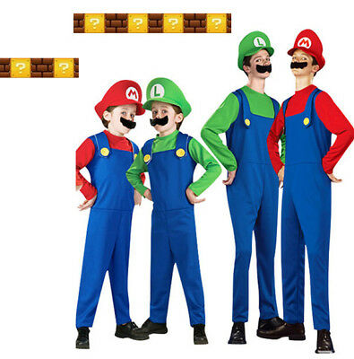 Mario and Luigi Costumes Kids Super Mario Bros/Brothers Halloween Fancy Dress  sc 1 st  PicClick : super mario luigi costume  - Germanpascual.Com