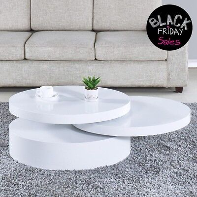 Modern Coffee Table White Round Rotating Contemporary Living Room Furniture
