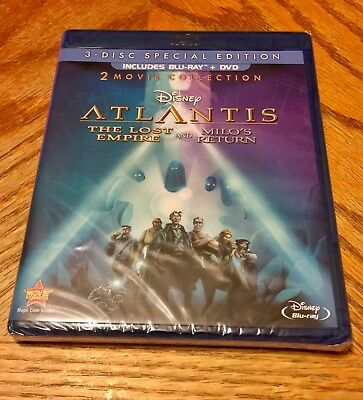 Disney Blu Ray Sealed Atlantis 1&2 The Lost Empire / Milo's Return Brand New DVD