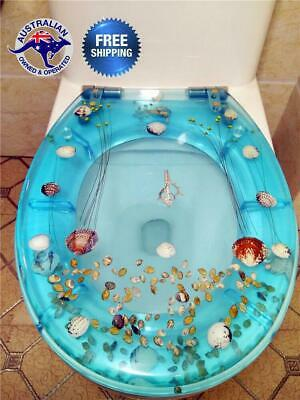 Toilet Seat Cover Resin Bathroom Soft Close Quick Release Easy Install Ocean