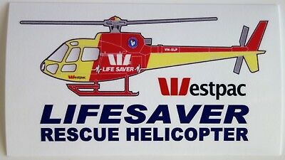 WESTPAC LIFESAVER RESCUE HELICOPTER AMBULANCE BUMPER STICKER 110 x 63mm