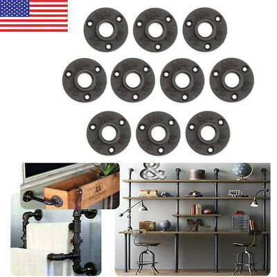 10Pcs 3/4'' Malleable Threaded Floor Flange Iron Pipe Fittings Wall Mount US