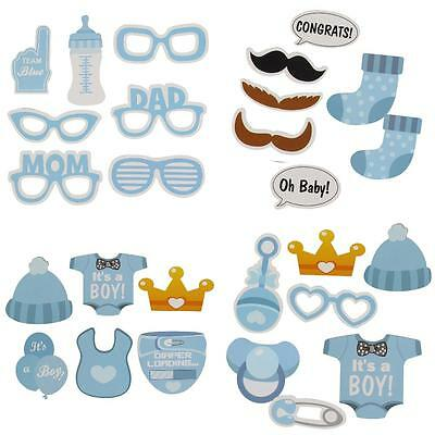 Pack of 25 X Baby Shower Photo Booth Props Little Boy New Born Party Blue Nice