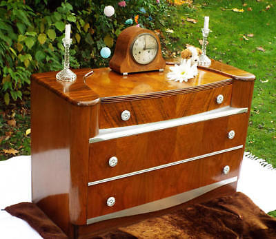 Art Deco Sideboard Dressing table Buffet Chest of drawers Antique Figured walnut