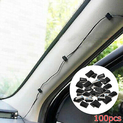 100 pcs Black Plastic Self-adhesive Wire Tie Rectangle Cable Install Clips Clamp