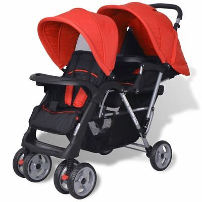 Tandem Pushchair Baby Double Pram Buggy Twin Stroller Travel Toddler Lightweight