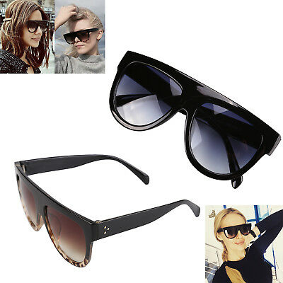 Black Flat Top Shadow Sunglasses Lady's Turtle Shield Luxury Oversized