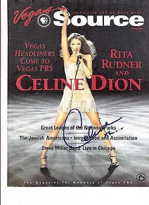 Celine Dion Hand Signed Vegas Source Magazine...rare Collectible