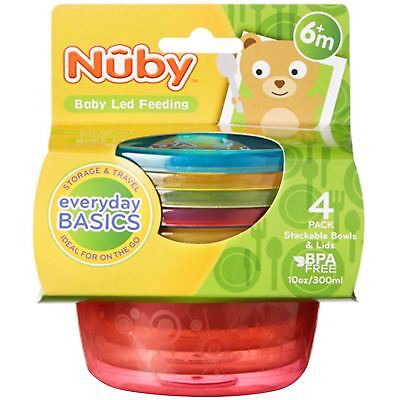 Nuby Stackable Bowls and Lids Baby Food Snack Travel Storage BPA Free 6m, 4 Pack